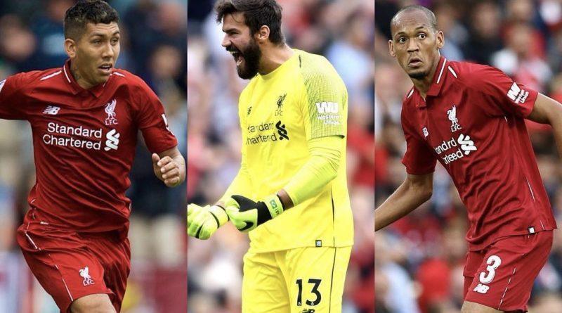 Roberto Firmino, Alisson Becker e Fabinho Liverpool